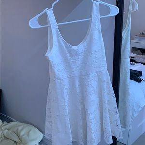 white floral material dress